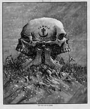 THOMAS NAST ANTIQUE 1878 ENGRAVING SKULL INTO JAWS OF DEATH TEMPLE OF JANUS