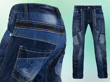 Herren Jeanshose Kosmo Lupo Dicke Nähte Clubwear Blau - 29 30  32 34  38 -