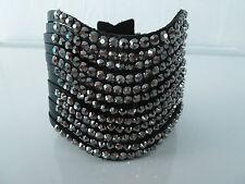 Womens biker/skull/gothic leather black bracelet / wrist band