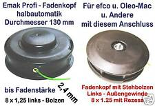 Freischneider Fadenkopf Efco Oleo-Mac 8 x 1,25 Bolzen Links-Gewinde 2,4 mm Faden