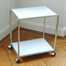 * USM Haller Lowboard Beistelltisch TV Tisch auf Rollen * Mattsilber * 50x35 cm
