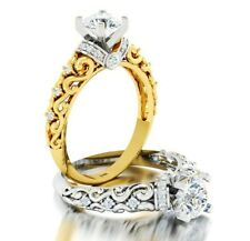 14K Genuine Yellow White Gold 1 Carat Diamond Engagement Ring Solitaire Art Deco