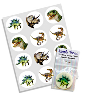 Cupcake Toppers Dinosaur Pre-cut Rice Paper Decoration 40mm x 12 Dino T-rex