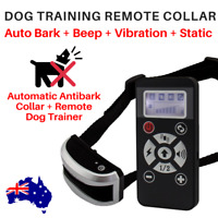 2-in-1 REMOTE TRAINING COLLAR + AUTOBARK *RECHARGEABLE SOUND VIBRATION STATIC
