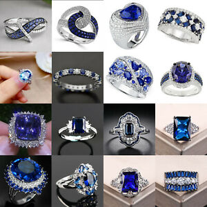 Elegant Women Jewelry 925 Silver Rings Blue Sapphire Wedding Party Ring Size6-10