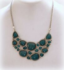 $75 NWT LUCKY BRAND BLUE GREEN STONE STATEMENT NECKLACE TRIBAL BOHO SILVER TONE