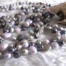 """50"""" 5-6mm Multi Color Baroque Freshwater Pearl Necklace Gray Peacock Gray-Pink"""