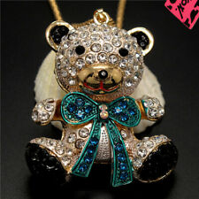New Lovely Green Crystal Bow Bear Baby Betsey Johnson Pendant Sweater Necklace