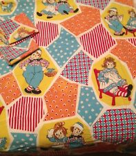 VINTAGE 1970s RAGGEDY ANN & ANDY FULL FLAT SHEET AND 2 PILLOW CASES