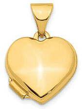 New 14k Yellow Gold 2 Photo Smooth Heart Locket Pendant Charm