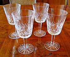 """WATERFORD LISMORE CRYSTAL WATER GOBLETS GLASSES 6 7/8"""" MINT   FOUR GLASSES"""