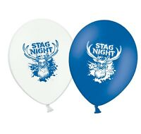"Stag Night - 12"" Printed Blue & White Assorted Latex Balloons pack of 8"