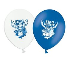 """Stag Night - 12"""" Printed Blue & White Assorted Latex Balloons pack of 6"""