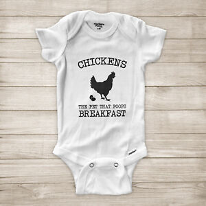 Chickens the Pet That Poops Breakfast Funny Farm Eggs Baby Infant Bodysuit