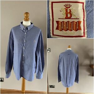 Baracuta blue small checked shirt size XL cotton button down collar long sleeve