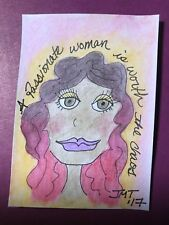 "ACEO Original Painting ""Laci"" Ooak 2.5""x3.5"" Women Inspire Women Watercolor"
