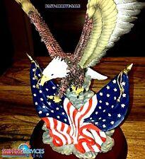 Beautiful Eagle Sculpture Statue Bird Figurine Flag American USA Wood Base Decor