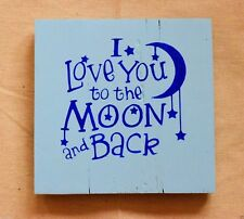 Handmade Reclaimed Wood Sign Love You To The Moon Theme Wall Hanging Plaque Sign