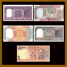 India 10 Rupees (5 Pcs Mix Set), ND 1962-2014 P-57/60/81/88/102 Unc with Pinhole