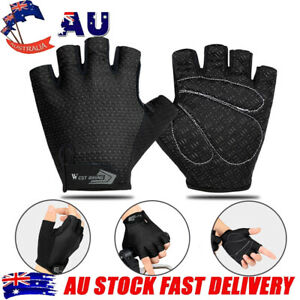 Cycling Breathable Half Finger Gloves Bike Anti Slip Fingerless Gloves Black AU