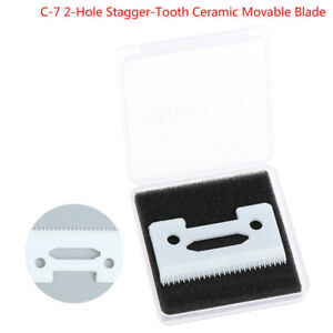 2-Hole Stagger-Tooth Ceramic Movable Blade Cordless Clipper Replaceable BlaHFUK