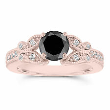 Enhanced Black Diamond Butterfly Engagement Ring 1.34 Carat 14k Rose Gold Pave