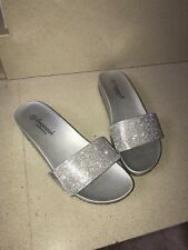 Savannah Silver Diamante Sliders Size 4 37 New
