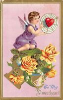 Valentine~Purple Cupid on Bed of Yellow Roses~Heart Target~Pink Back~Gold Emboss