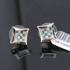 NYJEWEL Platinum New Unisex 1ct Blue & White Diamond Earrings