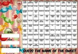 A3 GUESS THE NAME OF SWEET SCRATCHCARD Fundraising 100 Players Charity Game Xmas