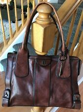 Fossil Vintage Reissue Weekender Large Leather Handbag Shoulder Bag Tote Purse