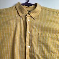 IZOD Men's Long Sleeve Button Up Shirt Large L Yellow White Plaid Pocket Casual