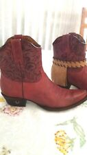 8 Second Angel womens short red authenic cowboy cowgirl boots sz 9.5 NIB