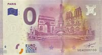 BILLET 0  EURO  PARIS 3 MONUMENTS TOUR EIFFEL  AU CENTRE FRANCE 2016 NUMERO 100