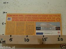 STICKER,DECAL SHELL LUISTER NAAR SKY RADIO FM WIN ALFA ROMEO 145 LARGE