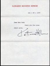 KATHARINE HEPBURN Signed letter, fine autograph, 1977