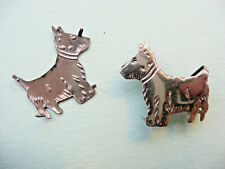 Dogs Brooch / Retro Pin Stampings 2 Stamped Silver Metal Vintage 1930s Scottie