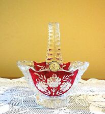 """Crystal Clear 24% LEAD CRYSTAL BASKET WITH RUBY RED BACKGROUND - 7"""" GERMANY"""