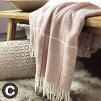Luxury Light Blush Pink  Woollen Feel Blanket Throw Modern Fringe Large Sofa Bed