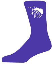 High Quality Purple Socks With a White Ant, Lovely Birthday Gift