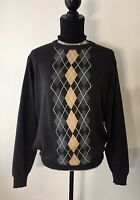 Men's United Colors Of Benetton Argyle Wool Grey Pullover Jumper Size M
