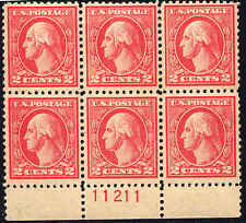 1920 US Stamp #527 A140 2c Plate Block of 6 Catalogue Value $350