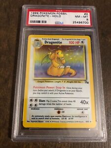 Dragonite 1999 Pokemon Fossil HOLO Near Mint #4 PSA 8