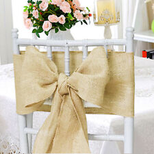 50 Hessian Chair Sashes Rustic Burlap Shabby Chic Fuller Bow Wedding Party Favor