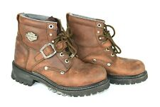 Harley Davidson Womens Boots Brown Lace Up Leather Motorcycle model 81025 SZ 8.5