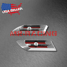 Universal Chrome Crystal Red Air Fender Grill Body Side Vents Car SUV Decoration