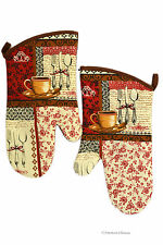 Set 2 Place Setting Cotton Coffee Cafe Bistro Kitchen Oven Gloves Mitts