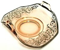 "Vintage Pink Arched Glass Plate Lemon Tray w/ Handles 6.5"" - Victorian Design"