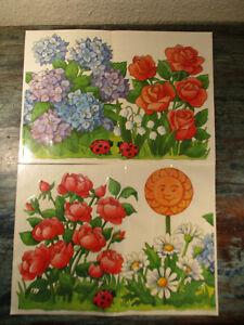2 Stück Vintage Fensterbilder Blumen & Marienkäfer 34x24,5cm Fensterbordüre