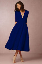 UK Plus Size Womens Vintage Long Prom Cocktail Ladies Evening Party Swing Dress